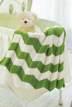 Hanover Baby Blanket The Hanover Baby Blanket is found on page 90 of Crochet! Spring 2016. Work Tunisian crochet in columns turning this unisex baby blanket on its end. Use the waffle stitch to create a zigzag pattern. Then connect as many columns as you want to make this baby blanket or keep adding them to create an afghan. The best thing is - the entire project is add as you go so no sewing is involved. A great project for using your yarn stash. Tanis Galik at www.SimpleAndSensational.com