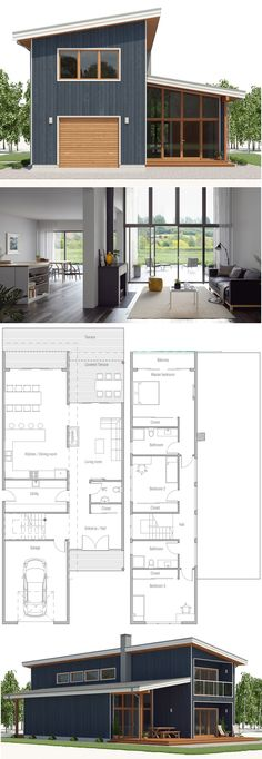 House Plan Modern Architecture Home Plan Floor Plan newhomeplan concepthome houses floorplans Narrow House Plans, New House Plans, House Floor Plans, Barn Home Plans, Small Modern House Plans, Sims House Plans, Casas Containers, Exterior House Colors, Garage Exterior