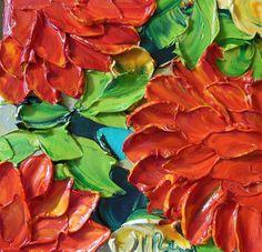 IMPASTO Oil Painting Three Red dahlias Jan by IronsideImpastos