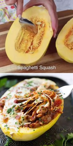 This Spaghetti Squash recipe is baked to perfection and stuffed with an Italian blend of Turkey sausage, marinara, and mozzarella cheese. Healthy Meal Prep, Healthy Dinner Recipes, Low Carb Recipes, Diet Recipes, Healthy Snacks, Vegetarian Recipes, Healthy Eating, Cooking Recipes, Keto Snacks