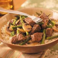 Asparagus Beef Stir-Fry. I just use the stir-fry beef strips already cut in the grocery store.