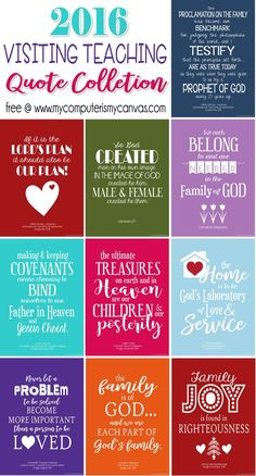 Printable Visiting Teaching Messages, handouts - 2016 LDS Quotes, Printable Quote Series #mycomputerismycanvas