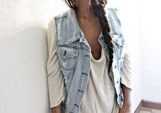 denim vest with a drapey top