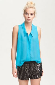 Rory Beca 'Sadira' Sheer Sleeveless Blouse available at Sheer Blouse, Sleeveless Blouse, Going Out, Nordstrom, My Style, How To Wear, Outfits, Clothes, Blind