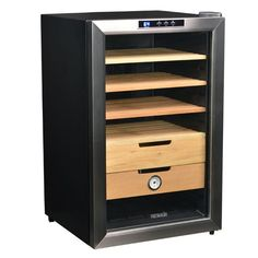 NewAir 400 Cigar Capacity Thermoelectric Cigar Humidor with Spanish Cedar Racks, Hygrometer, Moisture Container, Digital Temperature Controls, Stainless Steel/Glass Door and Black Cabinet Cigar Humidor Cabinet, Best Humidor, Best Wine Coolers, Slide Out Shelves, Cigar Room, Good Cigars, Blue Led Lights, Stainless Steel Doors, Cigars