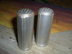 Pair of Vintage Kensington Aluminum Salt & Pepper Shakers Deco $10.00