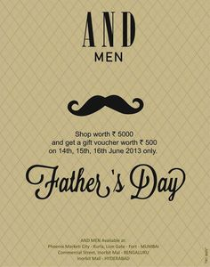 AND Men Father's Day Offer - Shop Worth Rs. 5000 & get a gift voucher worth Rs.500 from 14 to 16 June 2013 | Deals, Sales, Offers, Discounts in Mumbai | MallsMarket