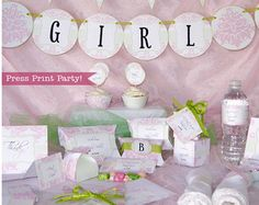 Pink Baby Shower Invitation and Decor Baby by PressPrintParty