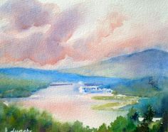 Evelyn Dunphy - Morning Light on the Hudson, View from Olana, Frederic Church