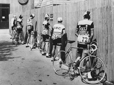 Cyclists prepare for the start of the 56th Giro d'Italia cycling race in Italy, 1973 - via reddit [[MORE]] Photo by Norbert Rzepka.