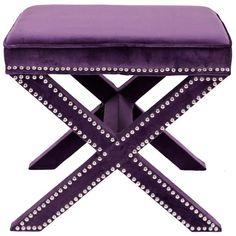 Safavieh Palmer X-bench Nailhead Plum Ottoman