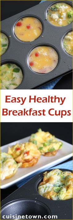 Easy Breakfast Cups - an ultimate low calorie breakfast recipe for busy weeks. You can made these Healthy Veggie Egg Muffins in advance on the go
