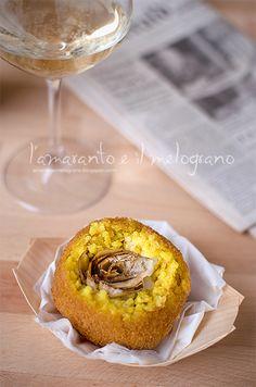 italian supplì with white ragù, artichoke and saffron