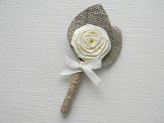 Ivory Flower burlap Boutonniere  Groom by WeddingForYou on Etsy, $7.00