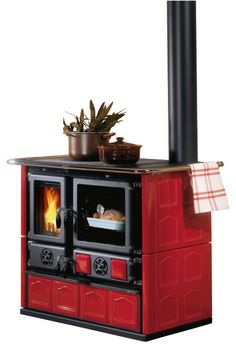 Wood Cook Stove La Nordica 'Rosa Maiolica' Wood-Burning Cooker, Bordeau farmhouse-ovens