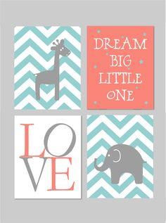 Coral Nursery Baby Elephant Nursery Girl Teal Nursery. Dream
