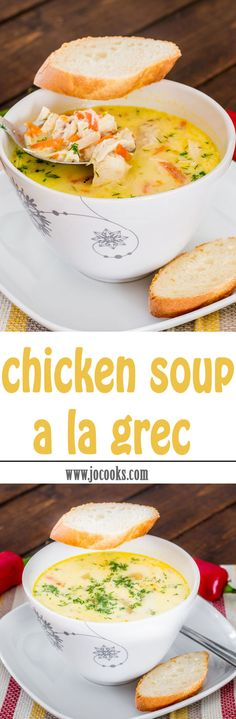 Chicken Soup A La Grec – comforting soup made from scratch, perfect for a cold… Healthy Soup, Healthy Recipes, Sweets Recipes, Soup Recipes, Cooking Recipes, Soup Kitchen, Jo Cooks, Chicken Soup, Greek Chicken
