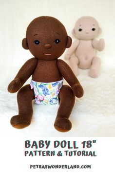 """Using this easy PDF sewing tutorial you will easily make your own 18"""" Baby Doll with a diaper that will not only act as a comforter for your baby girl, but it will bring joy and smiles every day. She is made out of fleece fabric and has movable legs and arms made using shank buttons. She can fit in a preemie size baby clothes. She can sit on her own.  #PDFBaby #DollPatternandTutorial #18inchSoftDoll #PatternwithDiaper #EasySewing #ClothDoll #InstantDownload #RagDollPattern"""
