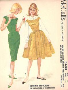 Vintage McCalls 5483 Dress/Jumper Pattern for Teens & Junior Girls. Sz. 11. 1960 #McCalls #1960s