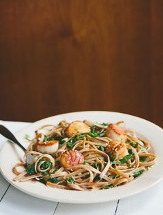 Seared Scallops with Fettuccine + Kale - A Thought For Food
