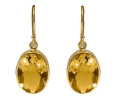 Gorgeous Guilded Sterling Silver Citrine Oval Drop Earrings by RalphTaylorDesigns on Etsy