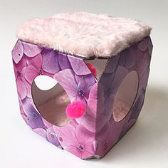 Cat Bed / House: Pink flower theme + 2 x cushions