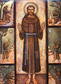 SAN FRANCISCO DE ASÍS Feast Of St Francis, St Francis Assisi, Catholic Art, Catholic Saints, Religious Images, Religious Art, St Francisco, Clare Of Assisi, St Clare's