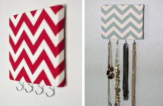 Chevron jewelry hooks, too cute!