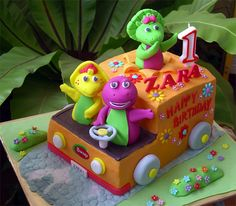 Barney & Friends Truck Cake- do with Sesame Street characters instead