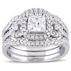 Miadora Sterling Silver Cubic Zirconia 3-stone Halo Bridal Ring Set