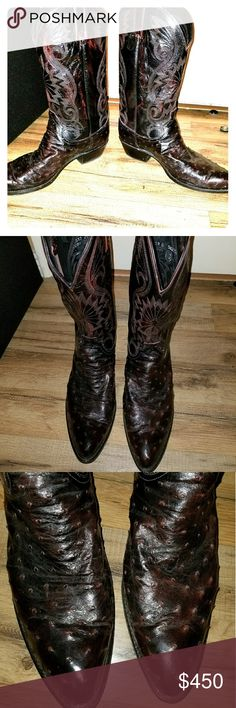 Ostrich Skin Boots Immaculate looking boots, I've only work these a handful of times to special occasions/fancy parties. No scuffs on the toe or anywhere else on the boot. They are size 13 Dan post brand. I bought these new a couple months ago for 650$ Dan Post Shoes Cowboy & Western Boots