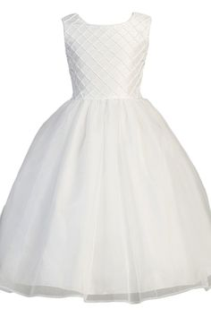 Lattice Work on Shantung & Organza First Holy Communion Dress (Girls Size 5 to 14)