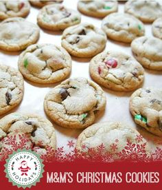 M&Ms Christmas Cookie Recipe - a chewy chocolate chip cookie with M&Ms - an extra dose of chocolate!