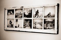 Black and white pictures in old window pane craft-ideas