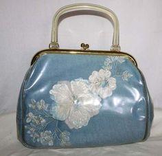 1950's Blue Linen Purse Handbag Pressed Flowers Lucite Handle