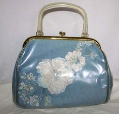 1950's Blue Linen Purse Handbag Pressed Flowers Lucite Handle