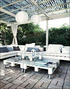 Arredare giardino con i bancali - Salotto da esterno con pallet