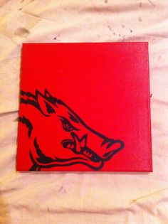 Razorback canvas - red base, carbon paper to trace the image, black paint pen and mod podge