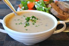 This Vegan Cream of Mushroom soup is creamy and delicious. Ready within 30 minutes. Vegan, gluten-free , oil-free recipe.