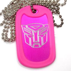 "Autobot Pink Pendant With 30"" Chain Dog Tag Aluminum Rubber Edge EDG-0312"