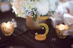 The River House, Navy & Gold wedding, gold table numbers