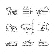 Diving and Freediving Equipment and Boats by IconicBestiary Diving and freediving equipment, boats thin line art icons set. Modern black style symbols isolated on white for infographics or w