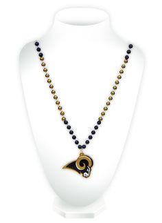 Los Angeles Rams Mardi Gras Beads with Medallion