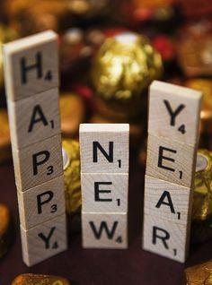 "New Year Wishes & Greetings"" — Shown: Scrabble tiles [identified as ""Block… - neujahr dekor New Year Wishes Cards, Happy New Year Cards, Happy New Year Wishes, Happy New Year Greetings, New Years Eve Day, New Years Party, Happy New Year 2014, Happy 2015, Silvester Party"