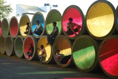 Urfun Lab of Mumbai, India refashioned an array of water pipe segments into seating, play equipment, and--when the sun shines through--a kaleidoscope of colorful shadows. #Placemaking #LQC #Upcycling