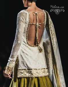 Manish Malhotra salwar details. tassels and lace sleeves. #IndianFashion