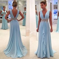 Sky blue V-neck prom dress, chiffon long prom dress, v back evening dress