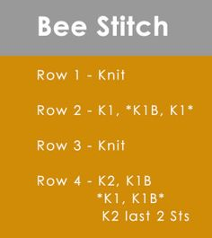 How to Knit the BEE STITCH by Studio Knit