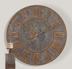 Large Aged Wood Clock