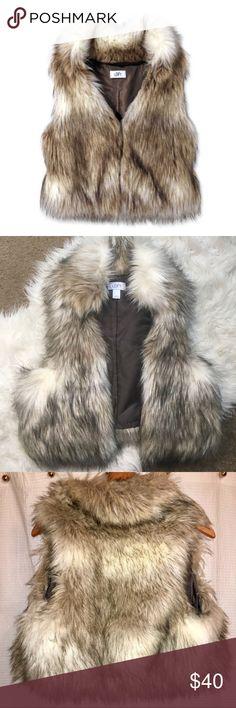 LOFT Faux Fur Vest Size Medium/Large, LOFT Faux Fur Vest.  Perfect Condition.  Tan with hints of brown faux fur. Jackets & Coats Vests